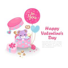 Cute Valentine's day greeting card. Valentine's day template. Cute objects for Valentine's day on white background.