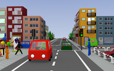 Stadtansicht mit Kreuzung, Geschäften, Autos, Häusern und Fußgängern. 3d render