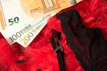 Euro Geldscheine und Dessous einer Prostituierte