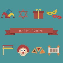 Purim holiday flat design icons set with text in english