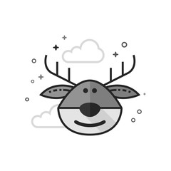 Reindeer the moose icon in flat outlined grayscale style. Vector illustration.