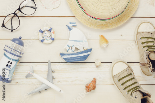 Table Top View Aerial Image Accessories To Travel Beach In Summer BackgroundFlat Lay Clothing