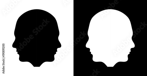 double human face silhouette side view stock image and royalty free