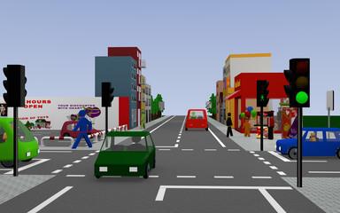 Stadtleben mit Fast Food, Popcornverkäufer, grüner Ampel, Autos und Fußgängern. 3d render
