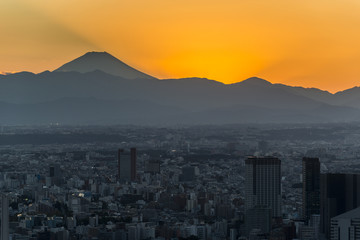 Tokyo sunset cityscape with  Mountian Fuji. Japan.