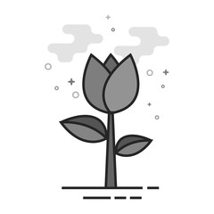 Rose icon in flat outlined grayscale style. Vector illustration.