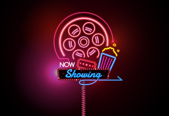 now open glowing neon and bulb sign cinema movie theater vector illustration