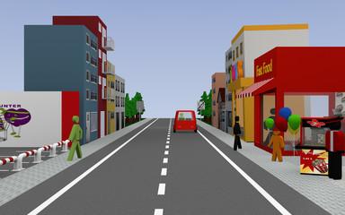 Straße mit Fast Food Laden, Popcornverkäufer, Häusern, Autos und Fußgängern. 3d render