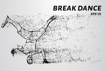 Break dance of particles. The breakdancer can dance on the head