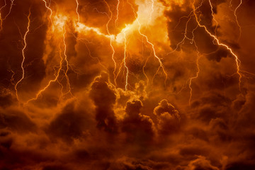 Hell realm, bright lightnings in apocalyptic sky, judgement day, end of world, eternal damnation