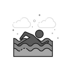 Man swimming icon in flat outlined grayscale style. Vector illustration.