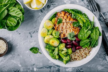 Healthy buddha bowl lunch with grilled chicken, quinoa, spinach, avocado, brussels sprouts, broccoli, red beans with sesame seeds Wall mural