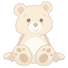 Cartoon Illustration Vintage Cute Little Teddy Bear Sitting