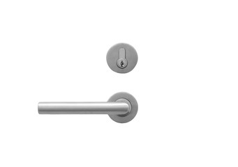 Metal door handle lock  isolated on white Wall mural