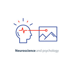 Education concept logo, human head icon, psychology and neuroscience