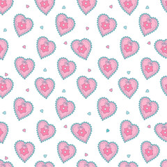 Seamless background  hearts  with flowers for Valentine's Day or weddings