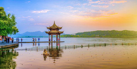 Beautiful scenery and architectural landscape in West Lake, Hangzhou Wall mural