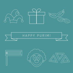 Purim holiday flat design white thin line icons set with text in english