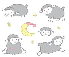 Cute Little Kawaii Style Gray Baby Sheep Design Elements Set Vector Illustration Isolated on White