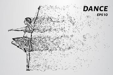 Dance of the particles. Girl dancing ballet.