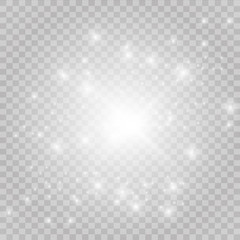 White iridescent light effect star design. Shiny transparent rays vector background. Bright transparent glowing sparkling star, abstract flare light rays.