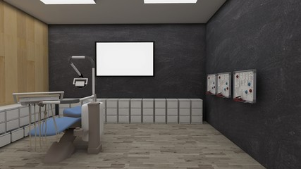 3D render Empty room with laminate flooring and white wall with with lcd