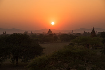 Beautiful landscape view of sunset Pagoda in Bagan city, Myanmar. Landmark and famous of romantic place of travel