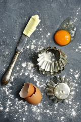 Food background with ingredients and props for baking.Top view with space for text.