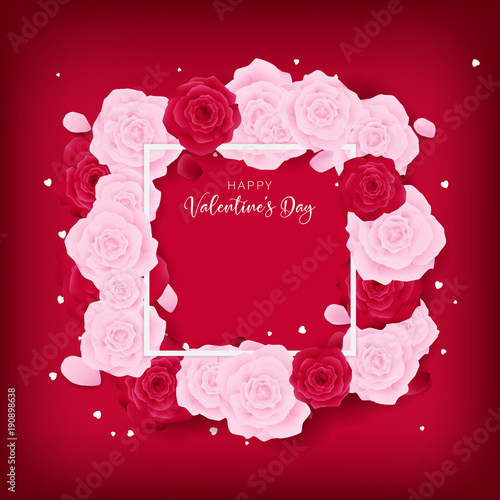 Top View Love Valentine S Day Square Template Included White Happy