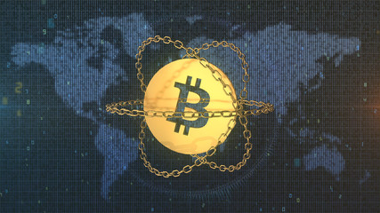 Bitcoin and the blockchain in front of Earth digital map - 3D Illustration
