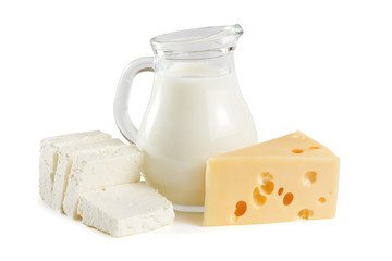Foto auf Acrylglas Milchprodukt Milk, cottage cheese and yellow cheese