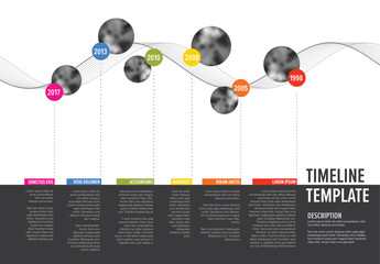 Vector Infographic Company Milestones Timeline Template with circle photo placeholders on colorful line - horizontal version