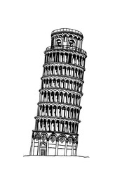 the leaning tower of pisa, graphical hand-painted illustration isolated on white background ,Italy
