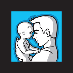 Happy father and small child together, portrait dad and kid. Man is holding a little baby in his arms. Vector illustration.