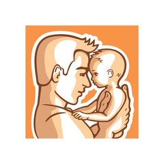 Happy father and small child together. Portrait dad and kid, man is holding a little baby in his arms. Vector illustration.