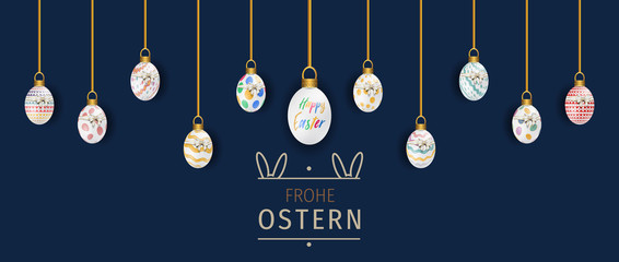 Bunte Ostereier. Frohe Ostern. Easter ornament elements hanging. Happy easter image vector. Modern Easter background with colorful eggs and gold hanging. Template Easter greeting card, vector.