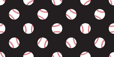 Baseball seamless pattern softball vector isolated illustration wallpaper background icon black