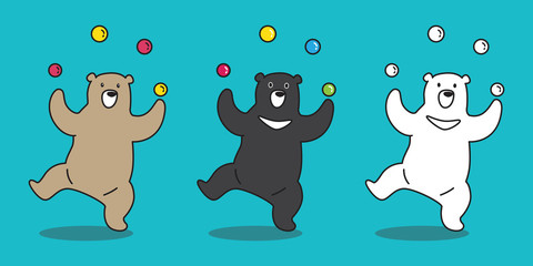 Bear vector icon Polar Bear juggling ball illustration character cartoon
