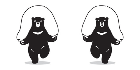 bear Vector icon logo skipping rope Polar bear doodle illustration character