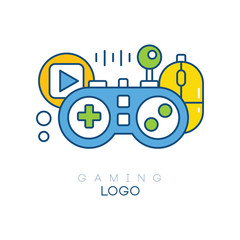 Gaming logo template. Gamepad, play button, joystick and computer mouse. Linear emblem with blue, yellow and green fill. Creative vector design for game club