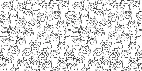 Cat paw seamless pattern cat breed isolated kitten dog paw hand vector wallpaper background doodle