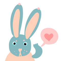 Happy Valentine cute rabbit flat illustration with heart isolated on white.