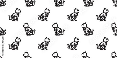 Cat Seamless Halloween Vector Pattern Isolated Cat Skull Bone Ghost Kitten Wallpaper Background