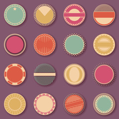 Stamp collection. Set of templates of labels in bright colors