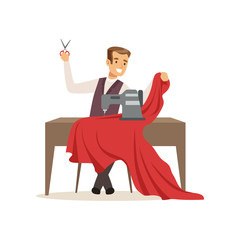 Male dressmaker with a sewing machine, clothing designer or tailor working at atelier vector Illustration