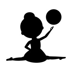 Silhouette ballet dancer with ball