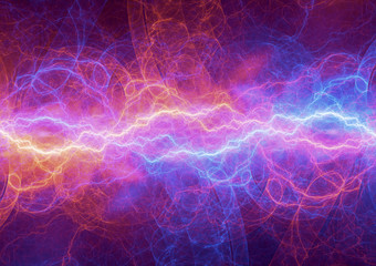 Fire and ice lightning, electrical plasma background