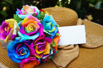Rainbow roses bouquet, multi-colored roses with white gift card