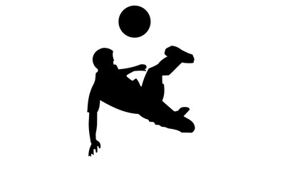 silhouette of the action of the kicking player floating I