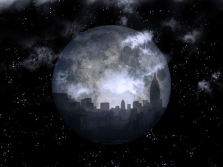 Full moon night city